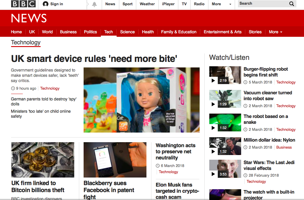BBC  Technology page