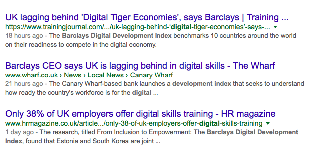 Google search results for Barclays Digital Index