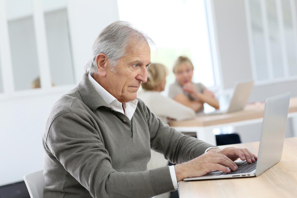old person with computer