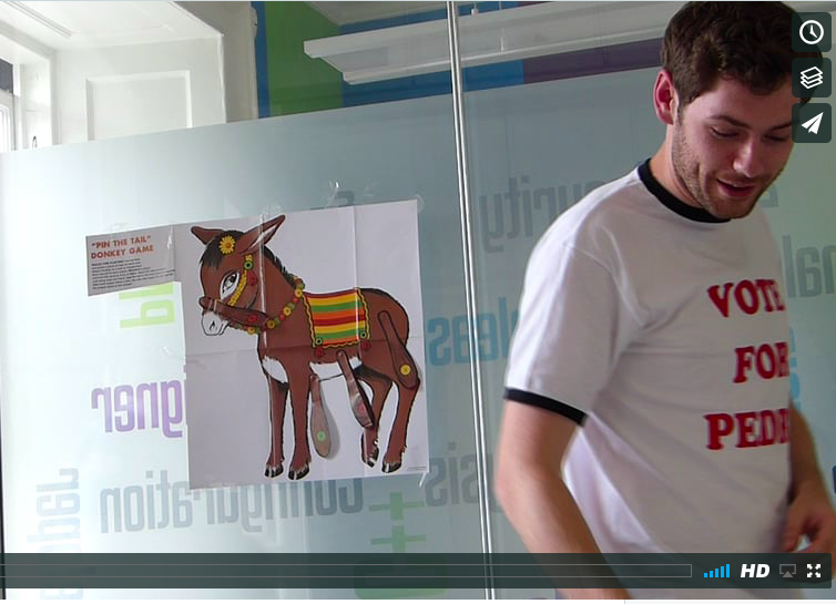 Sean plays pin the tail on the donkey