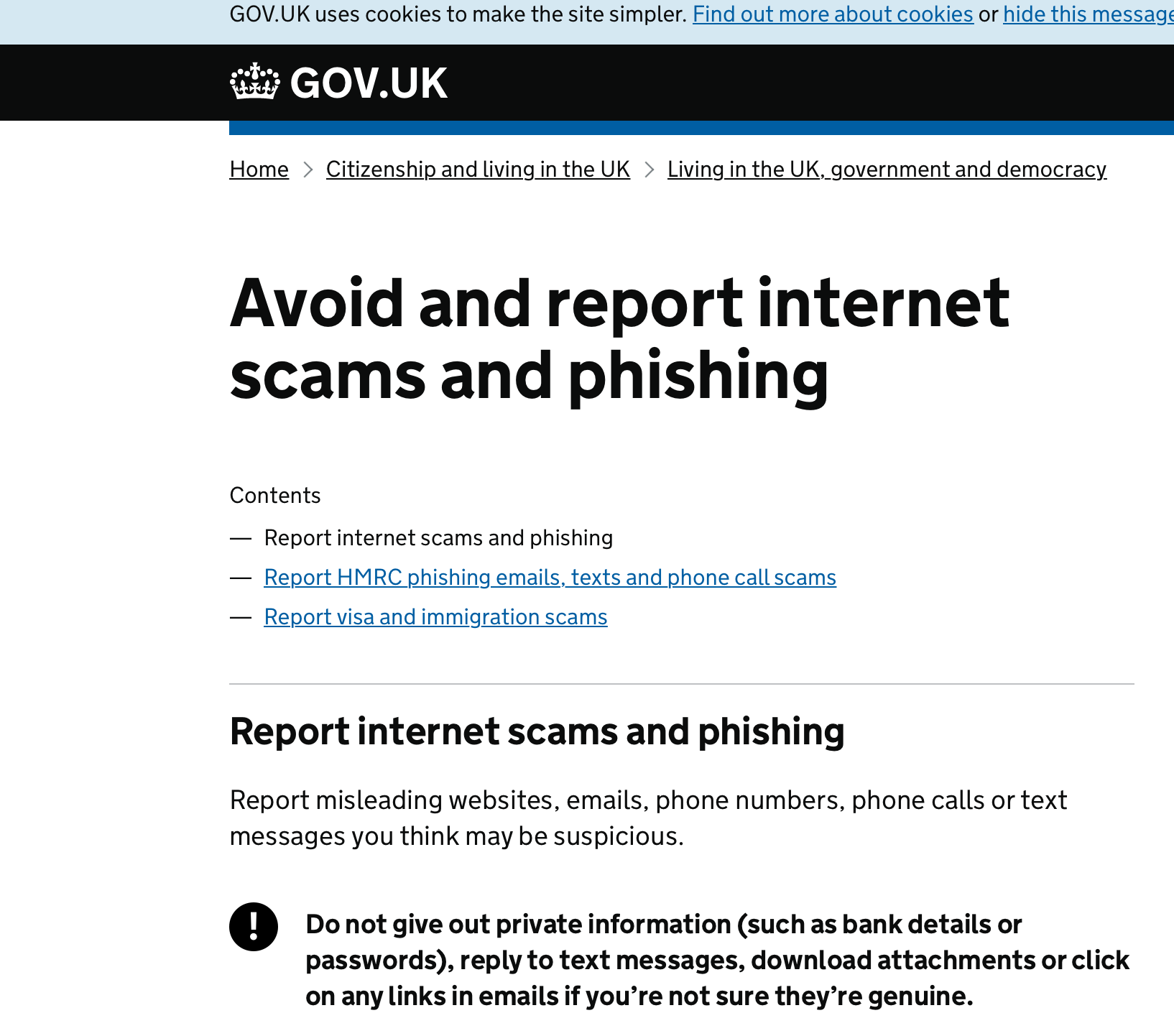 UK Government scam site advice
