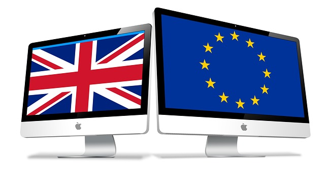Brexit, Union Flag and EU Flag on computer screens